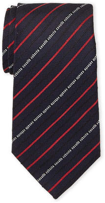 Roberto Cavalli Textured Pencil Stripe Silk Tie