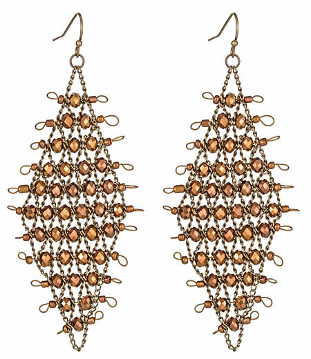 Blu Bijoux Beaded Mesh Earrings