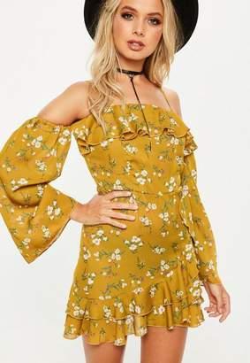 Missguided Yellow Bardot Printed Wrap Front Tea Dress