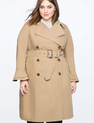 Ruffle Sleeve Trench Coat