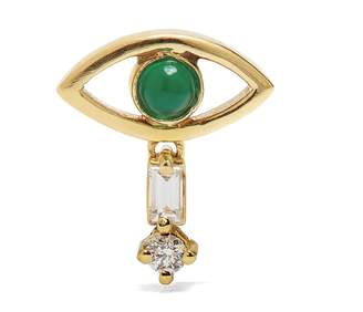 Ileana Makri Diamond, emerald & yellow-gold single earring