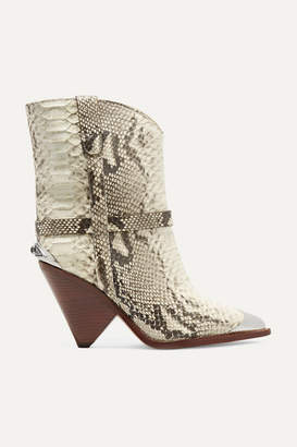 Isabel Marant Lamsy Embellished Snake-effect Leather Ankle Boots - Snake print