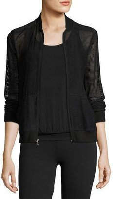 Beyond Yoga So Bomber Mesh Athletic Jacket, Black $165 thestylecure.com