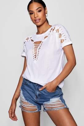 boohoo Zoe Lace Up Shoulder Detail T-Shirt