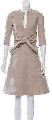 BEIGE Ralph Rucci Knee-Length Belted Dress Ralph Rucci Knee-Length Belted Dress
