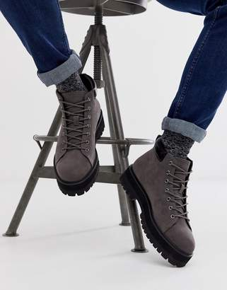 Asos Design DESIGN lace up boots in grey faux suede with chunky sole