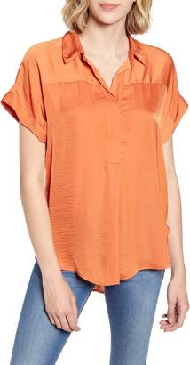 Vince Camuto Collared Rumple Henley Blouse