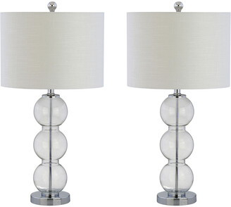 Jonathan Y Designs Set Of 2 Bella 27In Glass Triple-Sphere Led Table Lamps