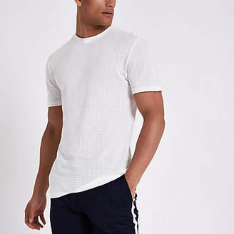 River Island White waffle slim fit short sleeve T-shirt
