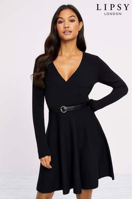 Lipsy Knitted Belted Fit And Flare Dress - 6 - Black