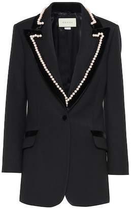 Gucci Pearl-trimmed wool blazer