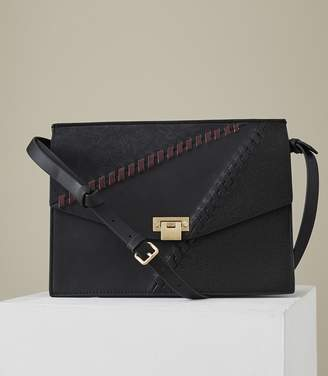 02e0c1fc4a Reiss Conway Whipstitch - Leather Lock Closure Shoulder Bag in Black