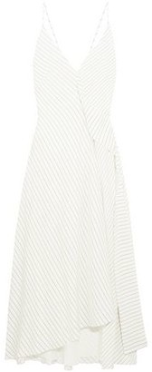 Victoria Beckham Asymmetric Pinstriped Silk Crepe De Chine Midi Dress