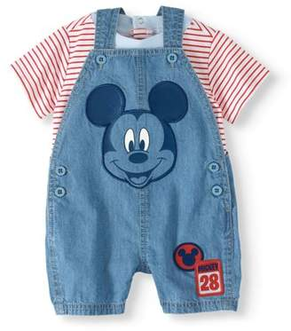 Mickey Mouse Baby Boy Shortall & Short Sleeve T-shirt, 2pc Outfit Set