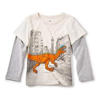 Tea Collection (ティコレクション インポート 子供服 男の子 コットン グラフィック 長袖 Tシャツ 恐竜 重ね着風 7F22120-061 061 クリーム 2T(2~3歳):日本サイズ約90~95cm