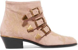Chloé Susanna Studded Suede Ankle Boots - Neutral