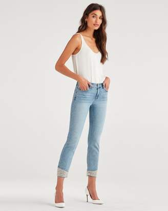 7 For All Mankind Luxe Vintage Pearl Jean in Flora
