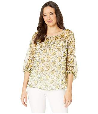Vince Camuto Long Sleeve Cluster Blooms Ruched Yoke Blouse