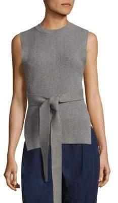 Donna Karan Ribbed Belted Pullover