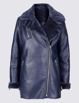 Limited Edition Faux Shearling Biker Jacket