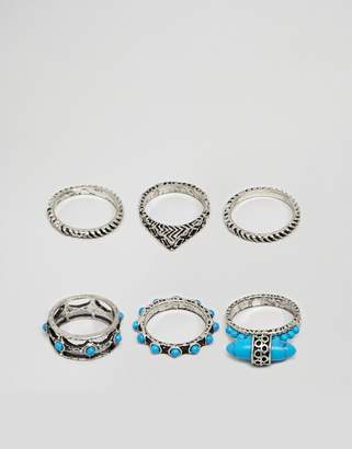 Asos DESIGN ring pack with stone interest in burnished silver