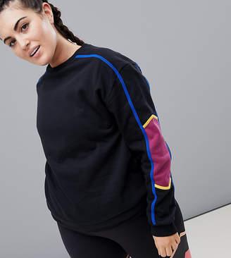South Beach Plus Stripe Sleeve Sweatshirt
