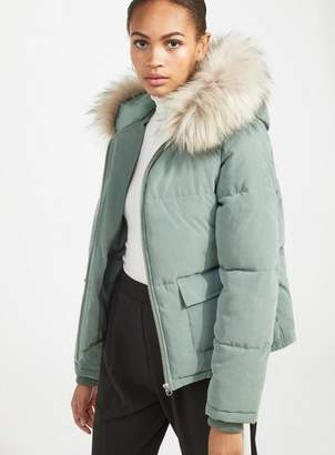 Miss Selfridge Khaki faux fur trim puffer