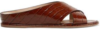Gabriela Hearst Ellington Croc-effect Leather Wedge Sandals - Brown