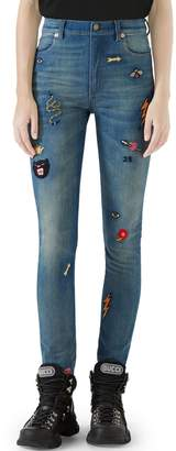 Gucci Patch Embellished Skinny Jeans