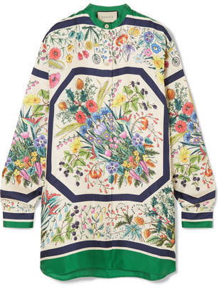 Gucci Oversized Printed Silk-twill Shirt - Ivory