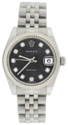 Rolex Datejust Jubilee 178274 Stainless Steel Black Diamond Dial 31mm Midsize Watch