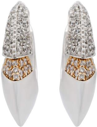 Chimento 18k White Gold & Layer Diamond Hoop Earrings