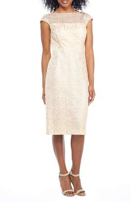 Maggy London Sequin Abstract Rose Sheath Dress