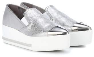 Miu Miu Metallic leather platform sneakers
