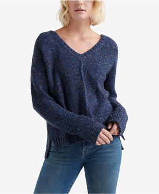 Lucky Brand Patterned Chunky-Knit V-Neck Sweater