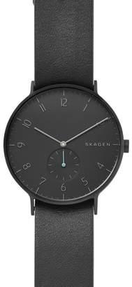 Skagen Aaren Reversible Leather Strap Watch, 40mm