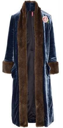 Staud Corrine Faux Fur-Trimmed Embroidered Velvet Coat