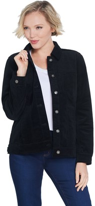 Denim & Co. Velveteen Button Front Long-Sleeve Jean Jacket