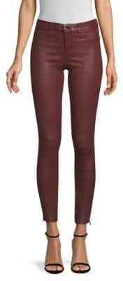 J Brand Mid-Rise Side-Zip Leather Skinny Pants