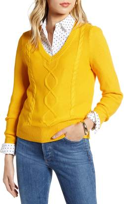 1901 Cable Knit V-Neck Sweater