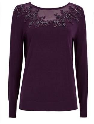 Wallis Purple Mesh and Bead Detail Jumper