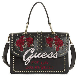 GUESS In Love Embroidered Top Handle Flap Crossbody Bag