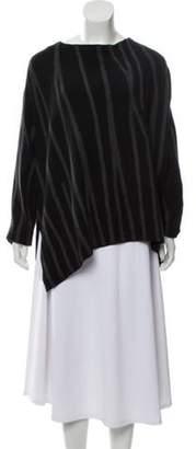 Donna Karan Wool Striped Sweater Black Wool Striped Sweater