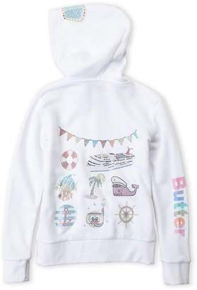 Butter Shoes Girls 7-16) White Emoji Back Zip-Up Hoodie