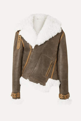 Monse Asymmetric Shearling And Textured-leather Biker Jacket - Dark brown