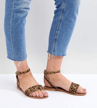 Asos DESIGN Freja Leather Wide Fit Studded Flat Sandals