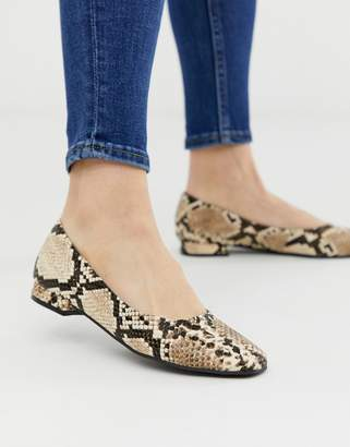 bca3a6b47 Accessorize square toe snake effect flat shoes