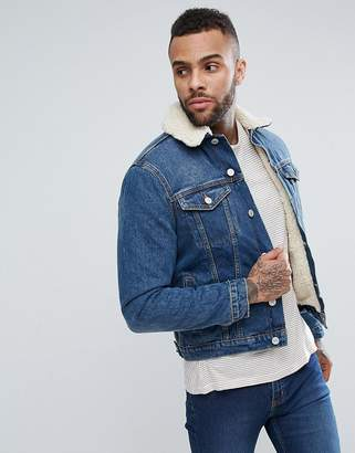 New Look Fleece Lined Denim Jacket In Mid Blue Wash