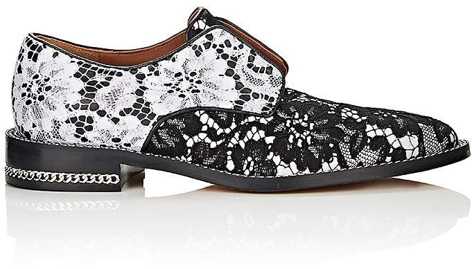Givenchy Women's Chain-Embellished Leather & Lace Oxfords