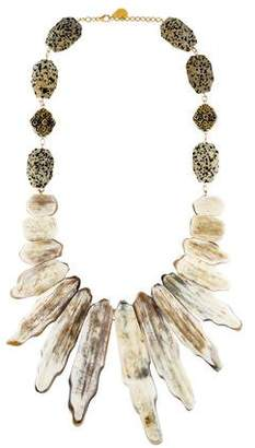 Devon Leigh Horn & Jasper Bib Necklace